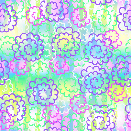ongoing: Seamless vector background from linear colorful flowers