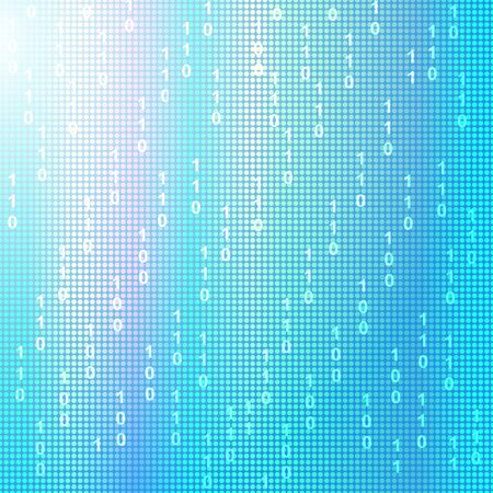 digital data: Blue binary square background. Vector color illustration