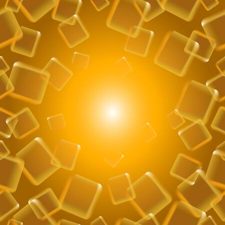 ongoing: Golden ongoing background of flying squares. Vector illustration