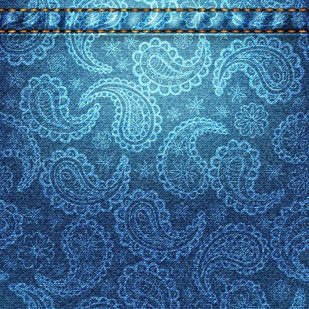 denim fabric: Texture of blue denim fabric with paisley. Background