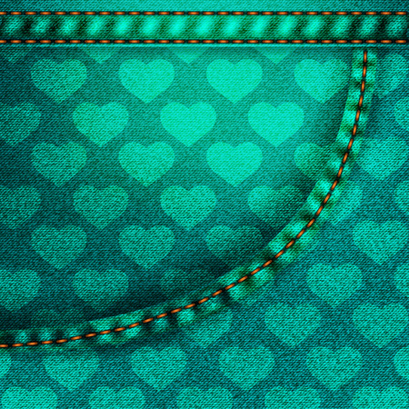 denim fabric: Background pattern. Texture of  green denim fabric with pocket.