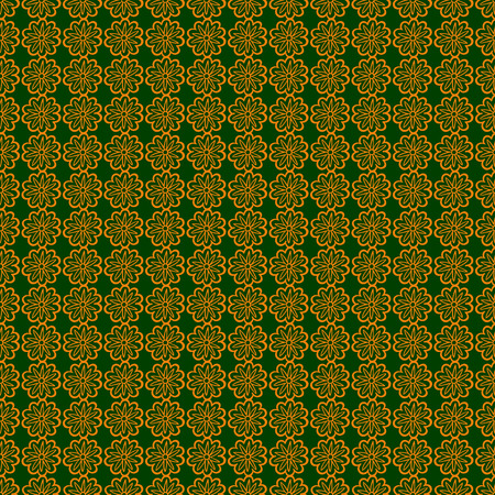 ongoing: Seamless ornamental texture of endless flowers. Orange and green colors