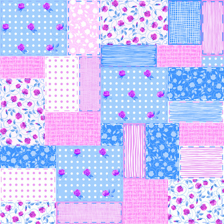 ongoing: Imitation sewn pieces of fabric in a patchwork style shabby chic. Illustration