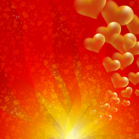 flirt: Gold hearts on red background.  Valentines day and wedding celebration