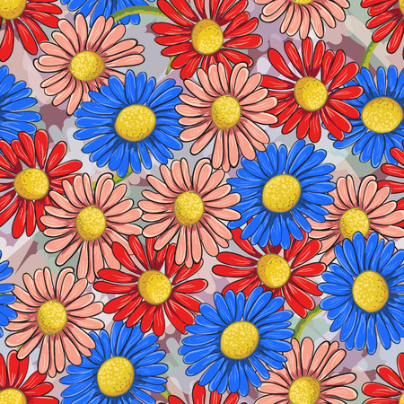 ongoing: Ongoing pattern of colorful chamomile. Vector illustration. Illustration
