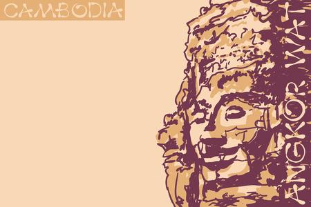 cambodia sculpture: Bayon temple faces at Angkor, Siem Reap Province, Cambodia.