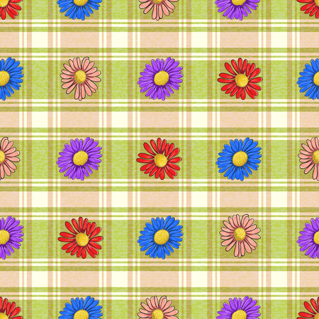 ongoing: Ongoing pattern of colorful chamomile on a plaid background Illustration