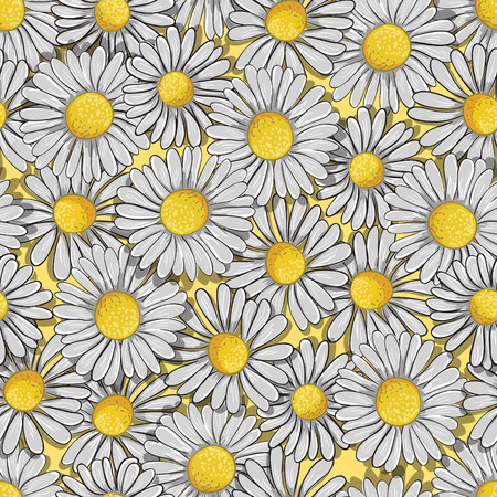 Ongoing pattern of white daisys. Vector illustration. Stock Illustratie