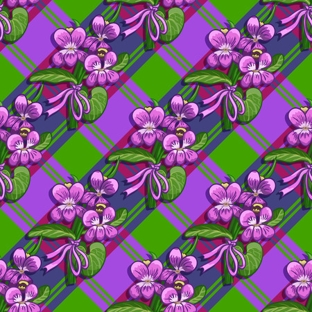 chequered ribbon: Bouquet of violets tied with a ribbon on a plaid background Illustration