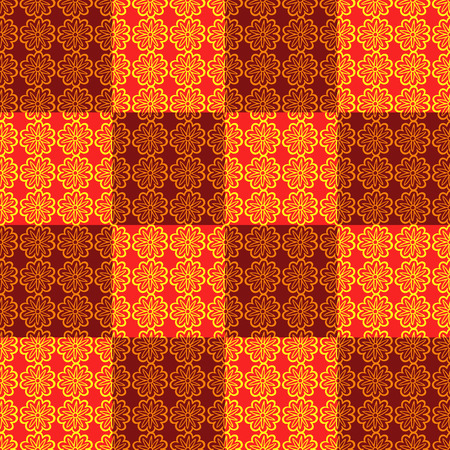 ongoing: Seamless ornamental texture of endless flowers. Orange and brown colors