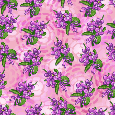 chequered ribbon: Bouquet of violets tied with a ribbon on a pink background