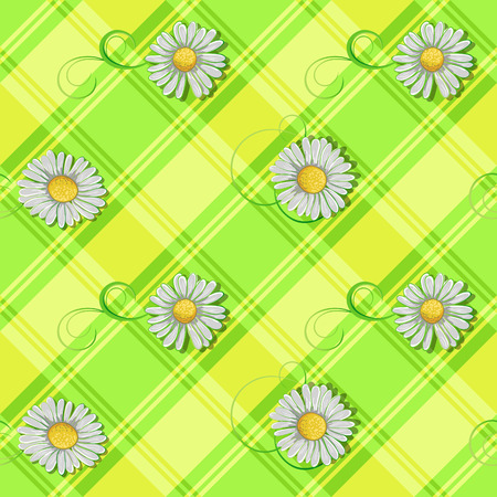 ongoing: Ongoing pattern of white daisyson green background.  Vector illustration.