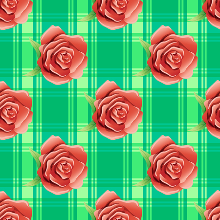 twining: Flowers and green leaves on a green background.