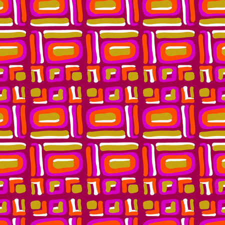 pink stripes: Vector seamless geometric pattern of yellow and pink stripes and squares Illustration
