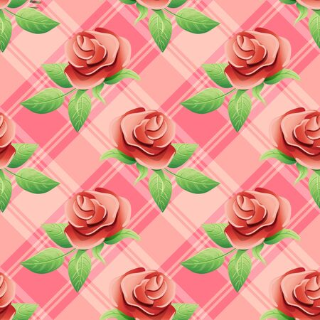 twining: Flowers and green leaves on a pink background. Illustration