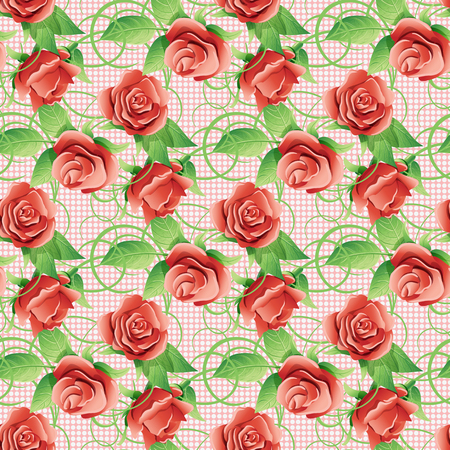 twining: Flowers and green leaves of roses. Ongoing vector background