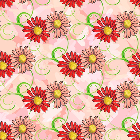 ongoing: Ongoing pattern of red and pink chamomile. Vector illustration. Illustration
