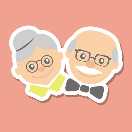 hombre pintando: Pareja de personas mayores. Abuela y abuelo. Ilustración vectorial saludo.