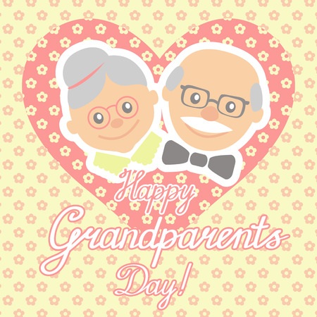older couple: Couple of older people. Grandmother and grandfather. Vector illustration greeting.