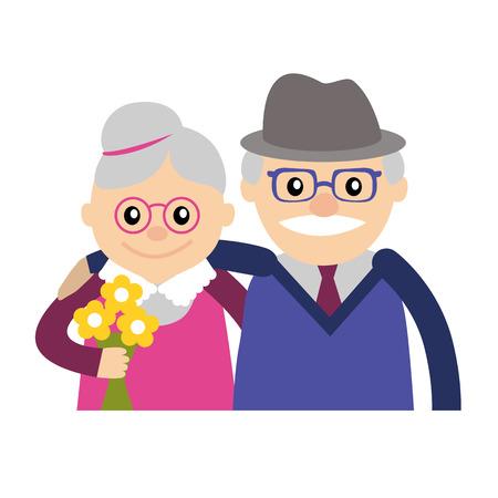 Pareja de personas mayores. Abuela y abuelo. Ilustración vectorial saludo.