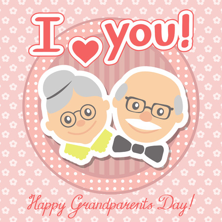 Couple of older people. Grandmother and grandfather. Vector illustration greeting.