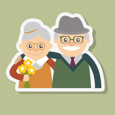 高齢者のカップル。祖母と祖父。ベクトル図の挨拶。