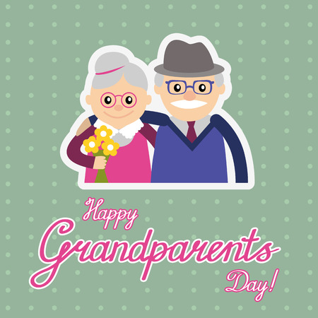 elderly couple: Couple of older people. Grandmother and grandfather. Vector illustration greeting.