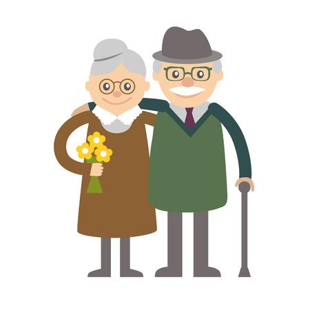 donna innamorata: Coppia di anziani. Nonna e nonno. Illustrazione di saluto. Vettoriali