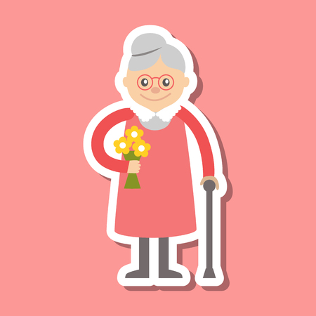 woman smile: Icon of grandmother. Vector illustration for celebration greeting.