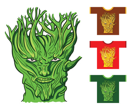 for example: Serious face of the tree.  Drawing on a t-shirt for example.