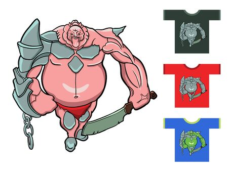 for example: Fantastic warrior. Drawing for t-shirts for example. Illustration
