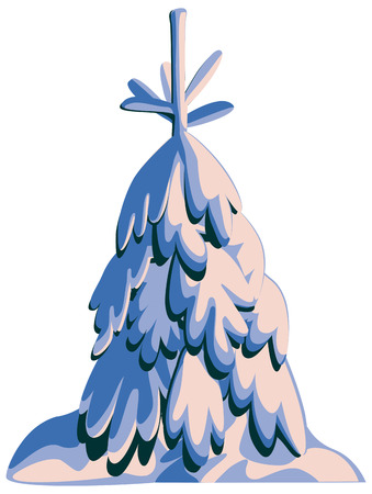 em: Fir-tree in snow on a white background.