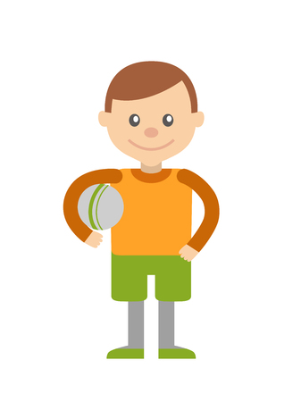 childrens playing: Little boy with ball in hand. Vector illustration Illustration