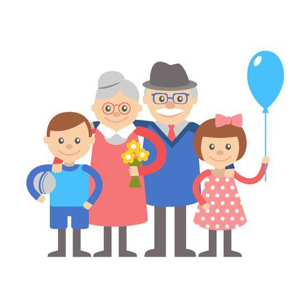 petit bonhomme: Grand-mère et grand-père avec le petit-fils et petite-fille