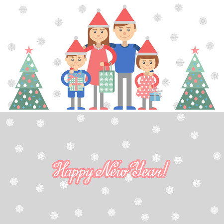 mom and dad: Parents and kids with Christmas shopping. Vector illustration of mom dad and the kids with gifts in hand.