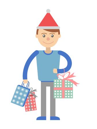Man avec des cadeaux pour la fête. Vector illustration. Banque d'images - 49608015