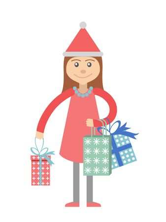 souvenir: Girl with gifts for the holiday. Vector illustration.