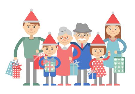 big family: Vector illustration of  big family with shopping.