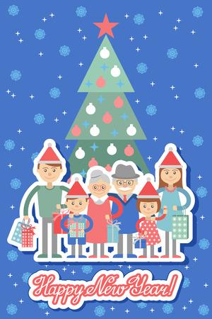 grandchildren: Vector illustration of  big family with shopping. Grandma and grandpa, children, grandchildren.