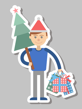 Man with gifts and Christmas tree for the holiday. Vector illustration.