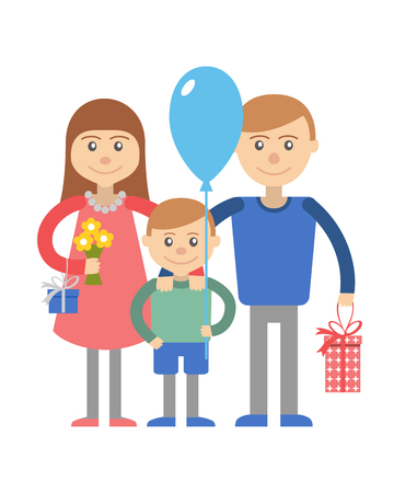 happy couple: illustration of happy family with son.
