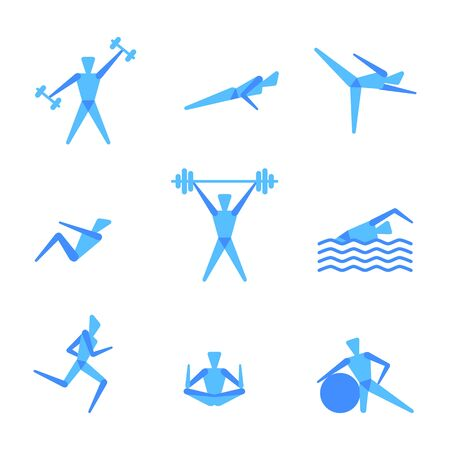 weight loss man: icons of people for fitness theme