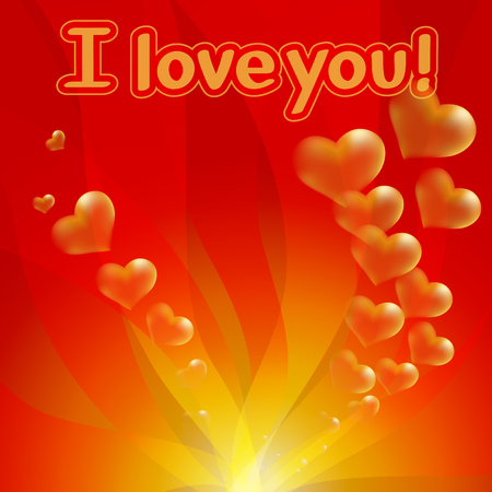 jealousy: Gold hearts on red background.  Valentines day and wedding celebration