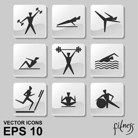 Vector icons of people for fitness theme Illustration