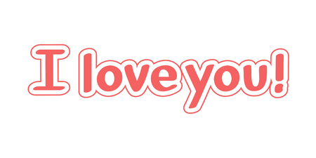 Vector Inscription I love you on white background