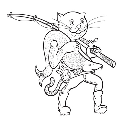 fish animal: Cat fisherman. illustration of cat with fish