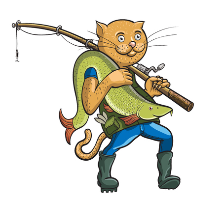 fish rod: Cat fisherman. Vector illustration of cat with fish Illustration