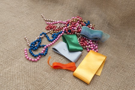 kanzashi: Materials for Handicrafts. Strip and blanks for making jewelry. Stock Photo