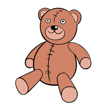 solid background: Brown teddy bear in solid colors on white background