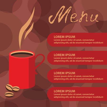 break in: Vector illustration of an element of a corporate style cafe menu in red and brown colors. Coffee break picture for the template design